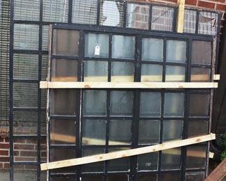 Three Antique Windows with Iron Frames
