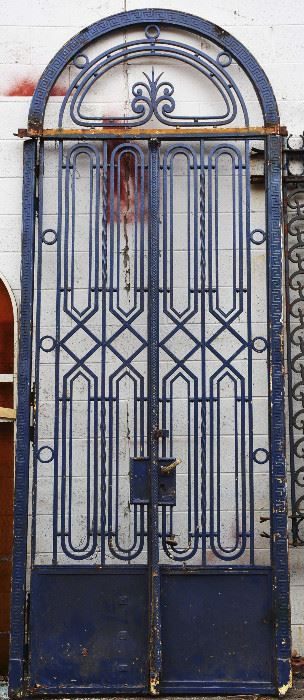 French Art Deco Style Iron Entry Door & Transom
