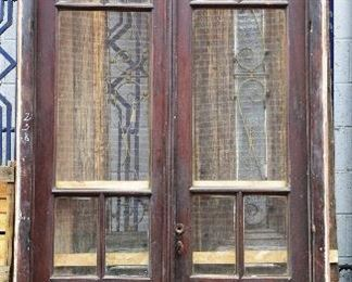 Two Antique Walnut Entry Doors