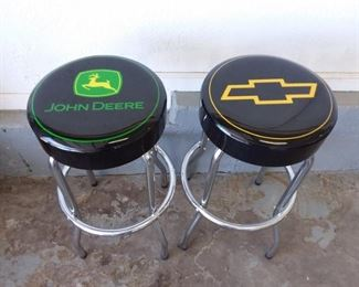 2 Bar Stools John Deere and Chevrolet, 1 Wood Stool