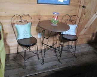 Charming Ice Cream Parlor Set - table w 2 chairs