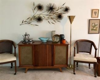 Mid Century stereo credenza cabinet, large signed Curtis Jere Pom Pom Wheat wall sculpture & vintage brass floor lamp.