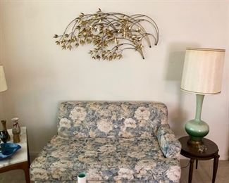 Signed Curtis Jere Willow branch wall hanging, stacking side tables.