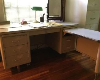 Vintage metal desk with slide out and metal file cabinets