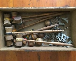 Antique mini croquet set