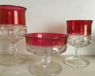 Tiffin glass Kings Crown Thumbprint footed glasses and Pedestal compote (not pictured)