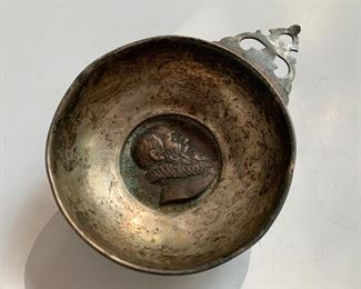 Antique medal (made in 1819) of Ambroise Pare (1509-1590),  a French surgeon,  incorporated into a hand crafted  - possibly Porringer Porridge bowl
