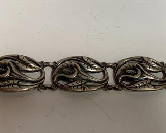 Early Danecraft vintage art nouveau sterling cala lily bracelet