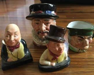 Royal Doulton mini Beefeater bust, Royal Doulton mini Micawber bust, Royal Doulton Sam Weller mini bust