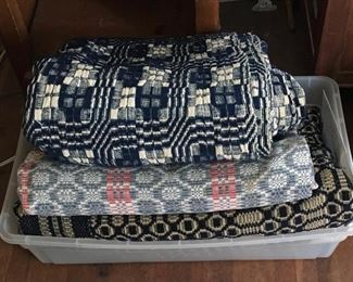 Handwoven, four-harness overshot weave structure coverlets