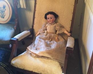 ANTIQUE DOLL AND ROCKER