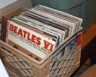 Beatles LP Records. Boxes Old Records