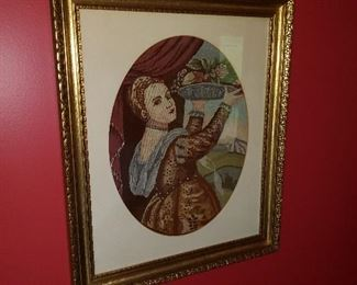 Old family Hungarian Petit Point framed picture