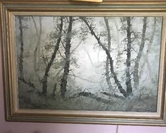 """Huerta Aguiar""    Early Morning Mist In The Woods                           (oil on canvas)"