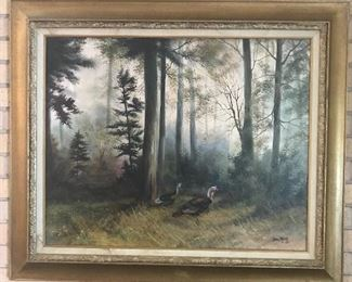 """ Jamie Carter""               Turkeys In The Woods                          (oil on canvas)"