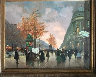 "By H. Schoelfan                                     ""Busy Parisian Evening Street Scene""                           (oil on canvas)"