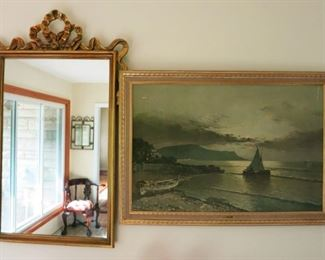 Large wall mirror and framed print
