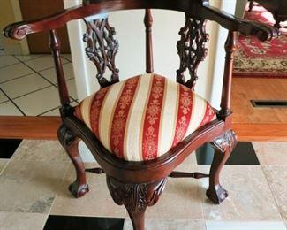 Decorative corner chair w/ claw feet