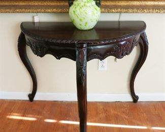 3 leg decorative table, art glass handled vase