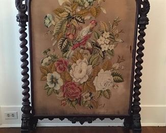 Fabulous Victorian Needlepoint Barley Twist Fire screen