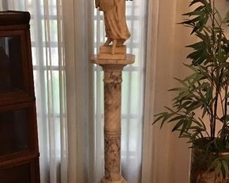 Italian marble pedestal with marble statue of lady, artist signed