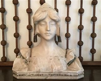 Artist signed Antique Marble and Gilt Bust.  Stick and Ball Fretwork