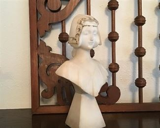 Small Antique Marble bust, signed