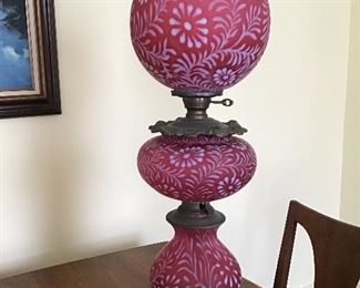 Spectacular Antique Cranberry glass Gone with the Wind Lamp