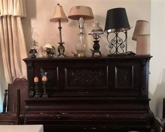 Vintage Lamps, Carved Upright Piano