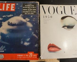 Vintage LIFE and Vogue magazines