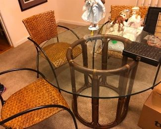 rattan and bamboo dinette set
