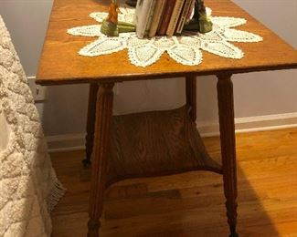 Okay, look closely at this antique table, it's got crystal ball-and-claw feet. You need this!