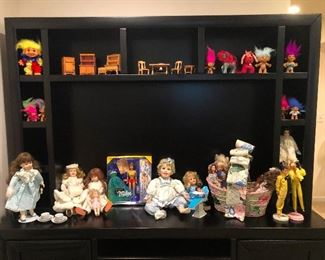 vintage barbies, dolls, and troll dolls