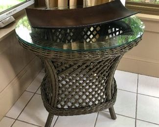 rattan glass top patio table