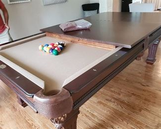 "Unique Pool Table manufactured by Spencer Marston. Converts to Dinning Room Table. 99""L  x 55""W x 32.5. Includes Stick Wall Unit, Rack, Balls, Cover & More"