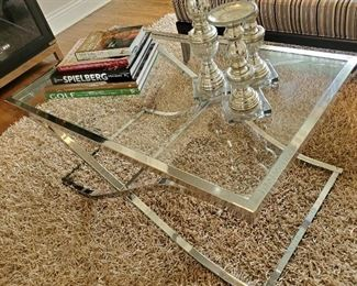 "Chrome and Glass Modern Coffee Table 42""L  x24""W x19""H"
