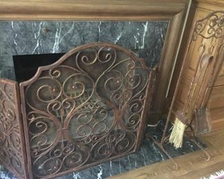 Wrought iron decorative fireplace screen and tools