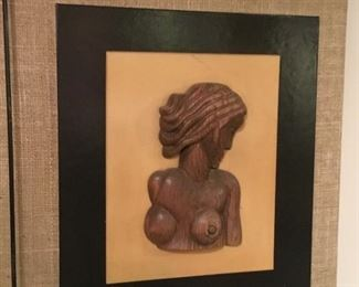 Mid century hand carved sculpture $300