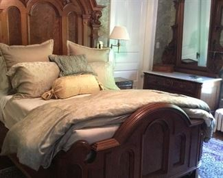 146 year old stunning bedroom set. Dresser has a marble top. Both pieces are hand carved and pristine
