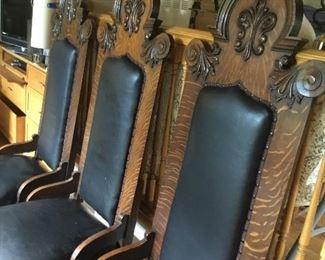 6 Antique high black kings chairs $400 each