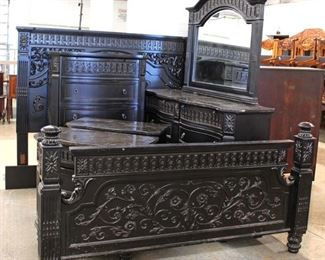 Contemporary Carved 5 Piece Marble Top King Bedroom Set  Auction Estimate $500-$1000 – Located Inside