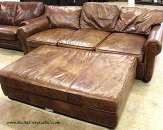 "Leather ""Restoration Hardware"" 2 Piece Sofa with Large Ottoman – may be offered separate  Auction Estimate $300-600 – Located Inside"
