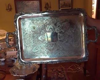 Large silverplated tray