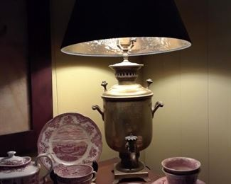Red transferware, copper urn made into lamp