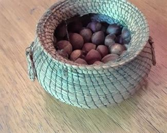 Handmade basket with chinquapins