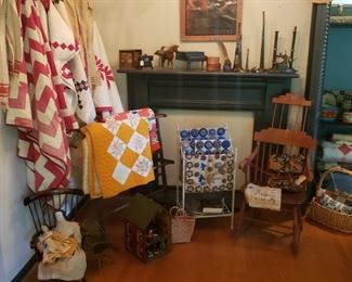 Many handmade quilts, vintage and antique