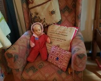 Doll, hat, pillows, and hand worked textiles
