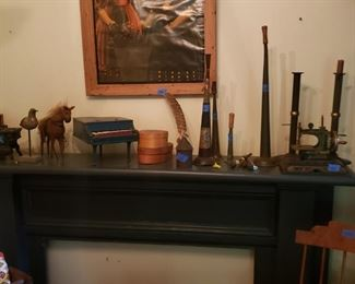 Old horns, sewing machine, and other toys