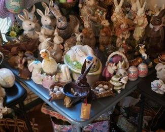 Huge selection of bunnies and Easter decor