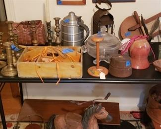 Candlesticks, hat stand. Horse tricycle, pewter tankard, lantern, pressed glass, and more